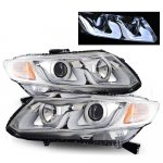 Honda Civic 2012-2013 Projector Headlights Chrome U-Shape Halo