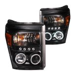 Ford F250 Super Duty 2011-2016 Projector Headlights Black CCFL Halo LED