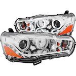 Mitsubishi Lancer 2008-2015 Projector Headlights Chrome CCFL Halo LED