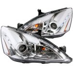 2007 Honda Accord Projector Headlights Chrome Halo LED DRL