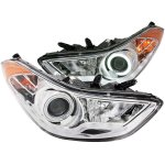 2012 Hyundai Elantra Projector Headlights Chrome CCFL Halo LED DRL