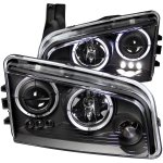 Dodge Charger 2006-2010 Projector Headlights Black Halo and LED