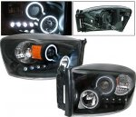 2009 Dodge Ram 2500 Projector Headlights Black CCFL Halo LED