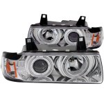 BMW 3 Series Sedan 1992-1998 Projector Headlights Chrome Halo