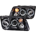 VW Jetta 1999-2005 Projector Headlights Black Halo with Fog Lights