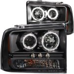 2005 Ford F350 Super Duty Black Projector Headlights with CCFL Halo and LED