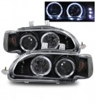 1993 Honda Civic Sedan Projector Headlights Black Halo LED