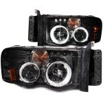 2002 Dodge Ram Projector Headlights Black CCFL Halo LED