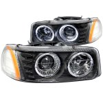 2003 GMC Sierra Black Projector Headlights with Halo