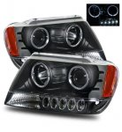 2004 Jeep Grand Cherokee Projector Headlights Black CCFL Halo LED