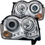 Jeep Grand Cherokee 2008-2010 Projector Headlights Chrome CCFL Halo LED