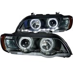 2001 BMW X5 Projector Headlights Black Halo LED DRL