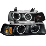 BMW 3 Series Sedan 1992-1998 Projector Headlights Black CCFL Halo