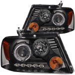 2004 Ford F150 Black Projector Headlights with Dual Halo and LED