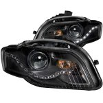 Audi A4 2006-2008 Black Projector Headlights LED DRL