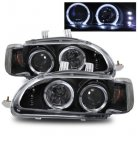 Honda Civic 1992-1995 Projector Headlights Black Halo LED
