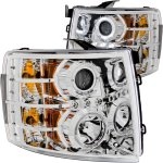 Chevy Silverado 2500HD 2007-2014 Clear Projector Headlights Halo LED