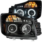 2012 Nissan Titan Projector Headlights Black CCFL Halo LED