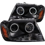 2004 Jeep Grand Cherokee Projector Headlights Black LED DRL CCFL Halo