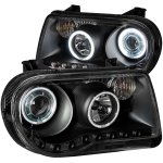 Chrysler 300C 2005-2010 Black Projector Headlights with CCFL Halo and LED
