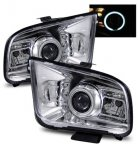 Ford Mustang 2005-2009 Projector Headlights Chrome CCFL Halo