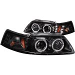 Ford Mustang 1999-2004 Projector Headlights Black Halo LED
