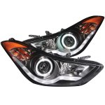 2012 Hyundai Elantra Projector Headlights Black CCFL Halo LED DRL