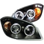 Chevy Cobalt 2005-2010 Projector Headlights Black Halo LED