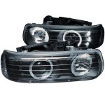 Chevy Silverado 1999-2002 Black Projector Headlights Halo LED