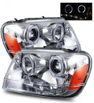Jeep Grand Cherokee 1999-2004 Projector Headlights Chrome LED DRL Halo