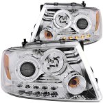 2004 Ford F150 Clear Projector Headlights with Dual Halo and LED