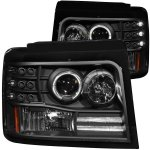 Ford F250 1992-1996 Black Projector Headlights with Halo and LED