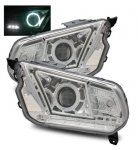 2011 Ford Mustang Projector Headlights Chrome CCFL Halo LED