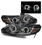 Honda Civic Sedan 2006-2011 Projector Headlights Black Halo LED DRL