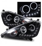 Honda Fit 2009-2010 Projector Headlights Black CCFL Halo LED DRL