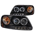 2002 Ford F150 Black Projector Headlights with Halo and LED