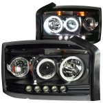 2007 Dodge Dakota Projector Headlights Black Halo LED
