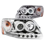 1999 Ford F150 Clear Projector Headlights with CCFL Halo and LED