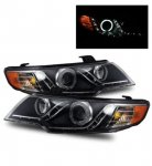 Kia Forte 2010-2013 Projector Headlights Black CCFL Halo LED DRL