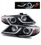 Kia Forte 2010-2013 Projector Headlights Black CCFL Halo LED DRL Strip