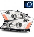 2007 Honda Accord Projector Headlights Chrome Halo
