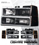 1997 Chevy 1500 Pickup Black Projector Headlights and Bumper Lights Set