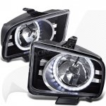 2005 Ford Mustang Black LED Halo Euro Headlights