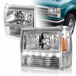 1990 Ford Ranger Clear Euro Headlights with LED Daytime Running Lights