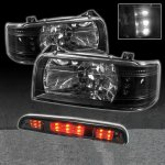 1996 Ford F150 Black Euro Headlights and LED Third Brake Light