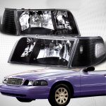2003 Ford Crown Victoria Black Euro Headlights