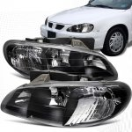 Pontiac Grand AM 1996-1998 Black Crystal Headlights