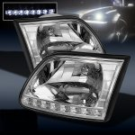 2002 Ford F150 Clear Euro Headlights with LED DRL