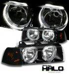1996 BMW E36 Sedan 3 Series Black Halo Euro Headlights and Smoked Corner Lights Set