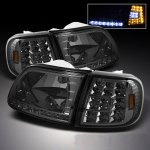 2002 Ford F150 Smoked Euro Headlights and LED Corner Lights Set